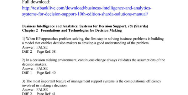 Managerial Decision Modeling With Spreadsheets Answer Key Within Business Intelligence And Analytics Systems For Decision Support
