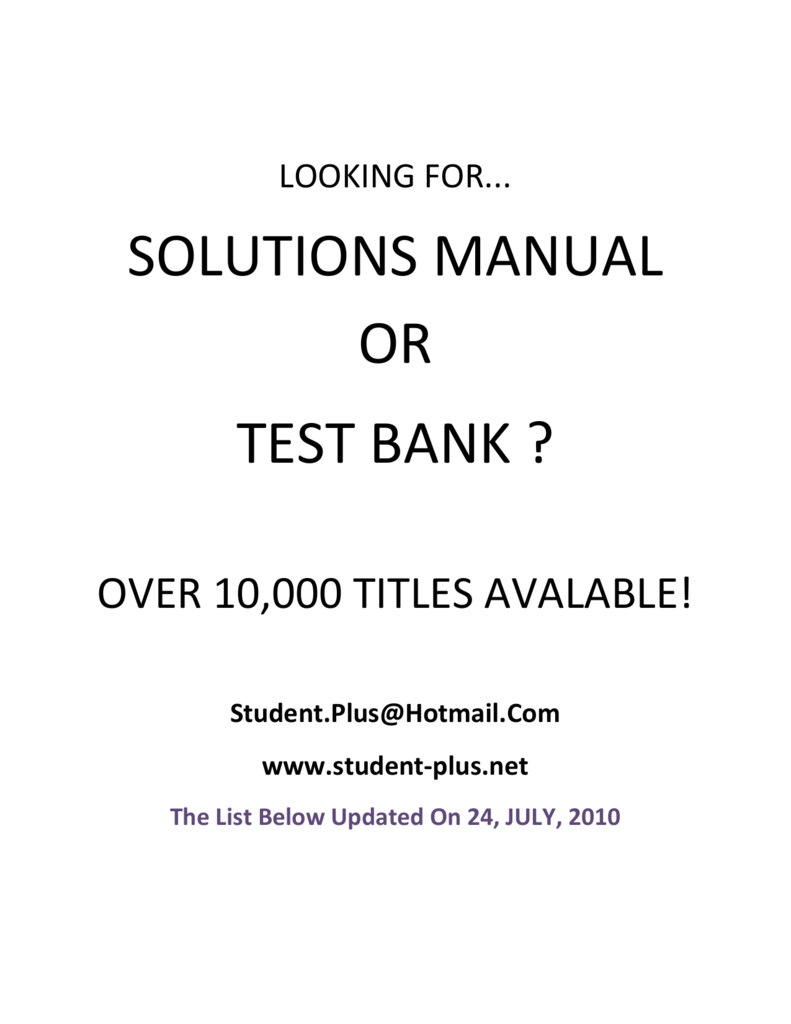 Managerial Decision Modeling With Spreadsheets Solutions Manual Download Free Within Solutions Manual