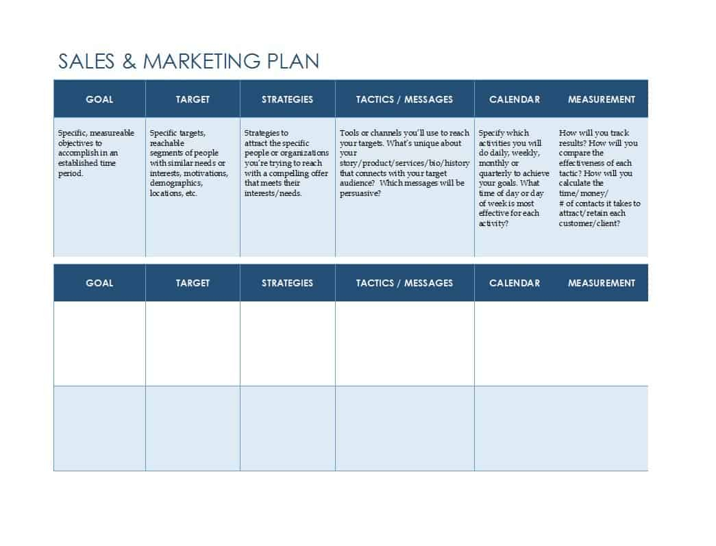Marketing Plan Spreadsheet In 32 Sales Plan  Sales Strategy Templates [Word  Excel]