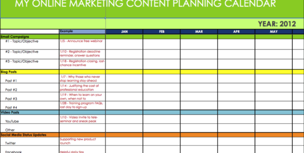 Marketing Plan Spreadsheet With Regard To Online Marketing Content  Message Plannersynchronicity Marketing
