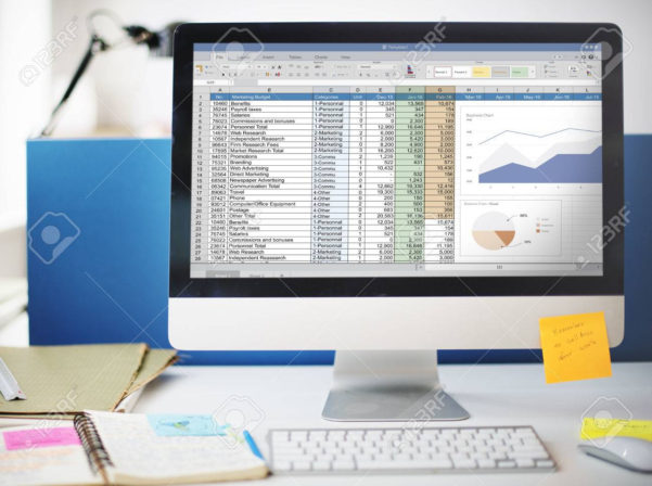 Marketing Spreadsheet For Spreadsheet Marketing Budget Report File Concept Stock Photo