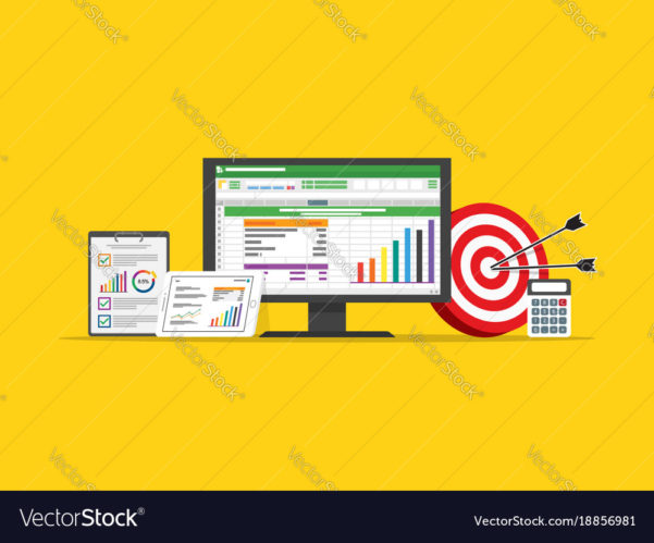 Marketing Spreadsheet Within Spreadsheet Business Finance Data And Marketing Vector Image