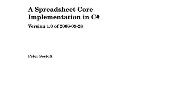 Martin Lewis Spreadsheet Pertaining To Pdf A Spreadsheet Core Implementation In C# Version 1.0 Of 20060928