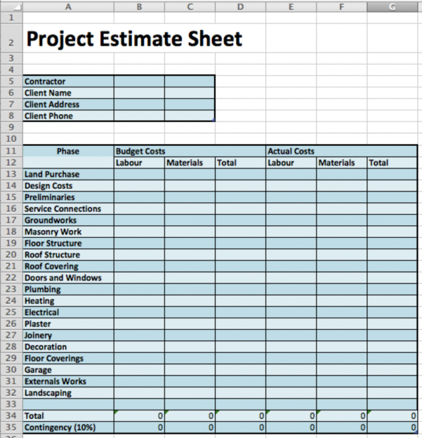 Masonry Estimating Spreadsheet For Masonry Estimate Template Construction Cost Worksheet Download Sheet