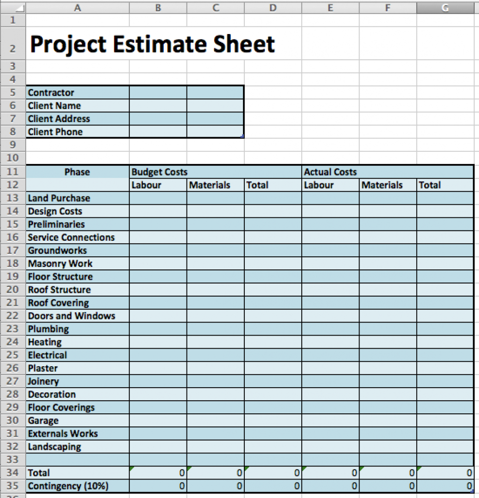 Masonry Estimating Spreadsheet For Masonry Estimate Template Construction Cost Worksheet Download Sheet