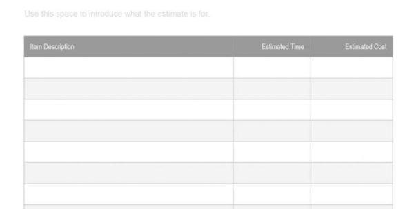 Masonry Estimating Spreadsheet Intended For Masonry Estimate Template Free 02 Spreadsheet