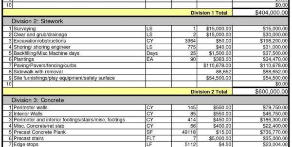 Masonry Estimating Spreadsheet Pertaining To Masonry Estimate Template  Stalinsektionen Docs