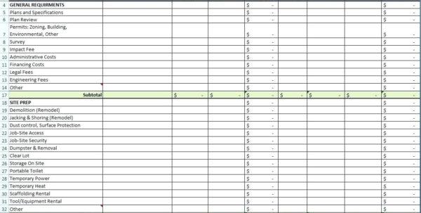 Masonry Estimating Spreadsheet With Masonry Estimate Template