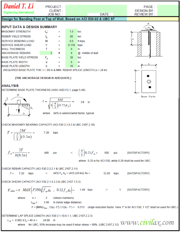 Masonry Shear Wall Design Spreadsheet In Masonry Design Spreadsheet  Civil Engineering Community