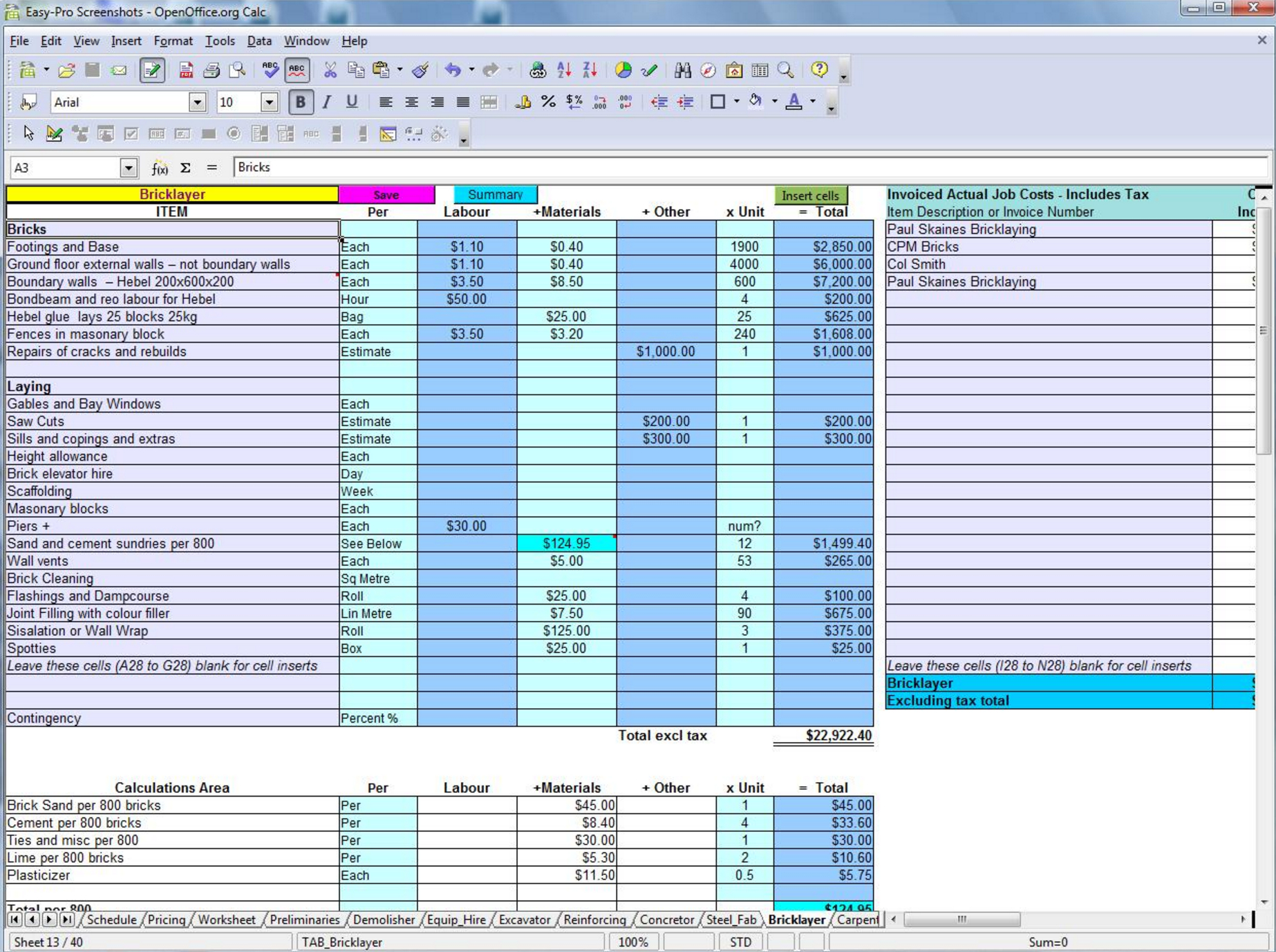 Masonry Takeoff Spreadsheet Template For 5 Free Construction Estimating  Takeoff Products Perfect For Smbs
