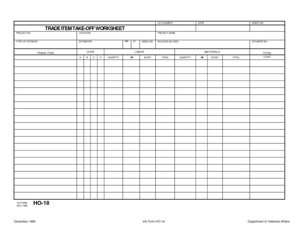 Masonry Takeoff Spreadsheet Template Within Trade Item Construction Takeoff Worksheet