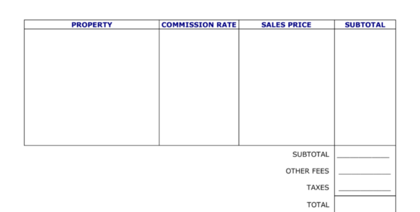 Mass Balance Spreadsheet Template Intended For Free Real Estate Agent Commission Invoice Template  Word  Pdf