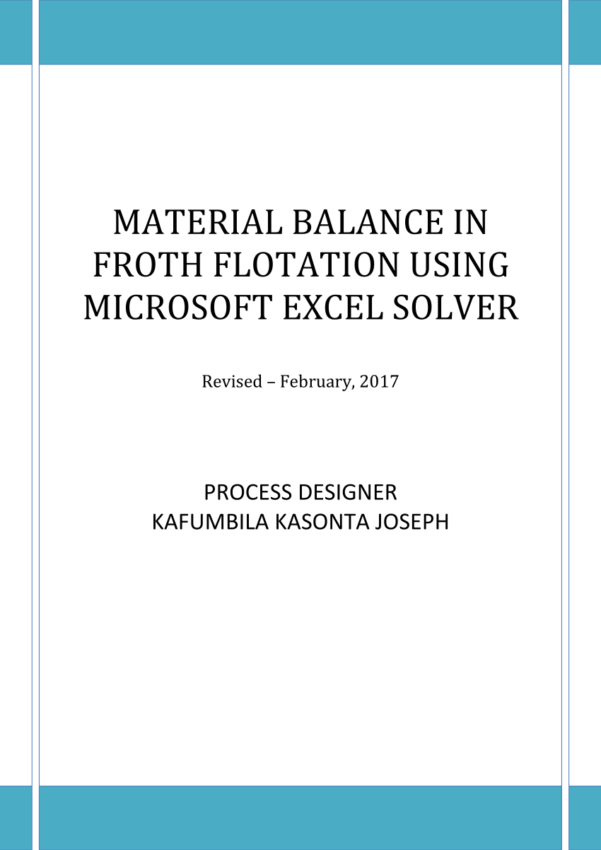 Mass Balance Spreadsheet Template Intended For Pdf Material Balance In Froth Flotation Using Microsoft Excel Solver