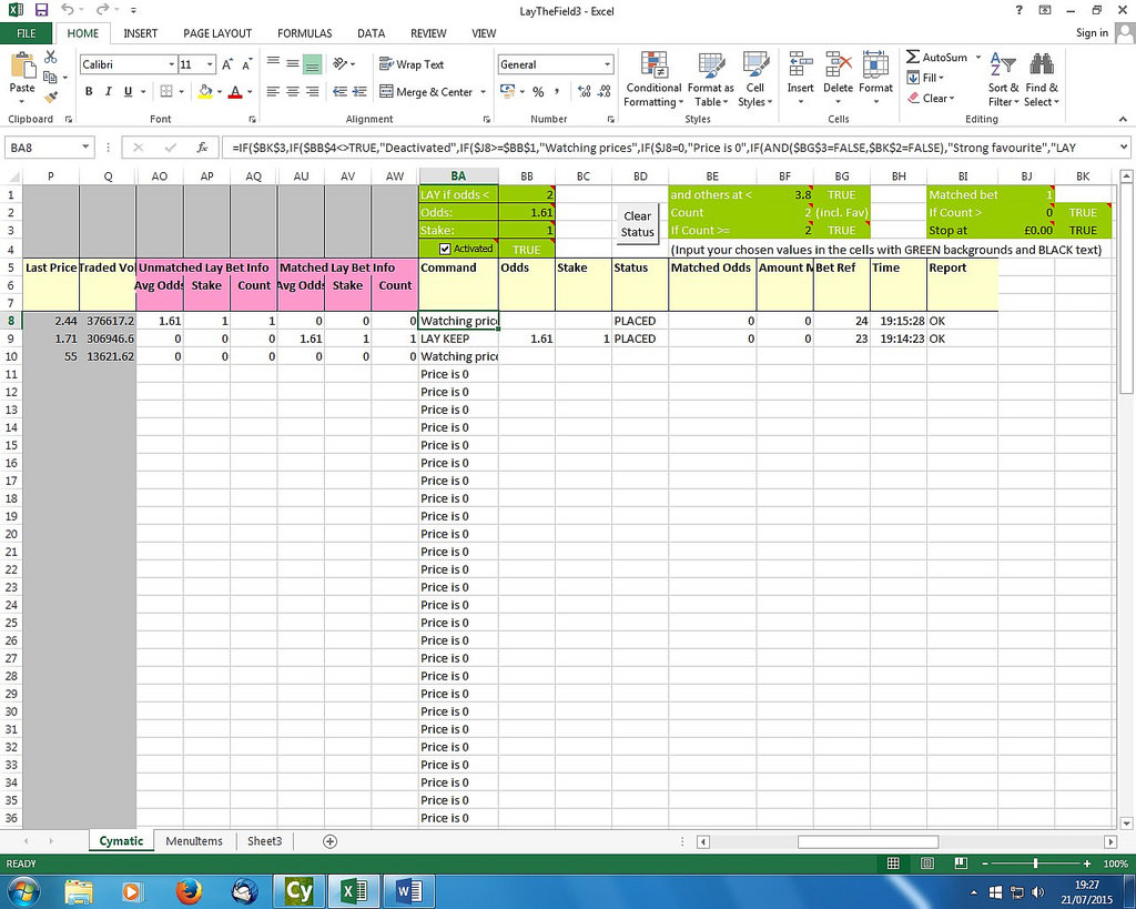Matched Betting Spreadsheet Inside Cymatic Trader Community • Lay The Field Spreadsheet : Excel