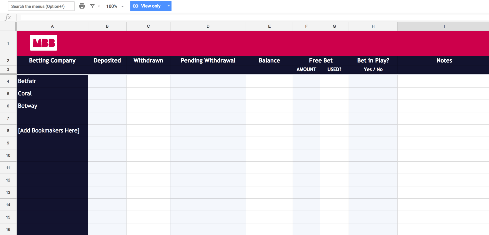 Matched Betting Spreadsheet Pertaining To Matched Betting Spreadsheet