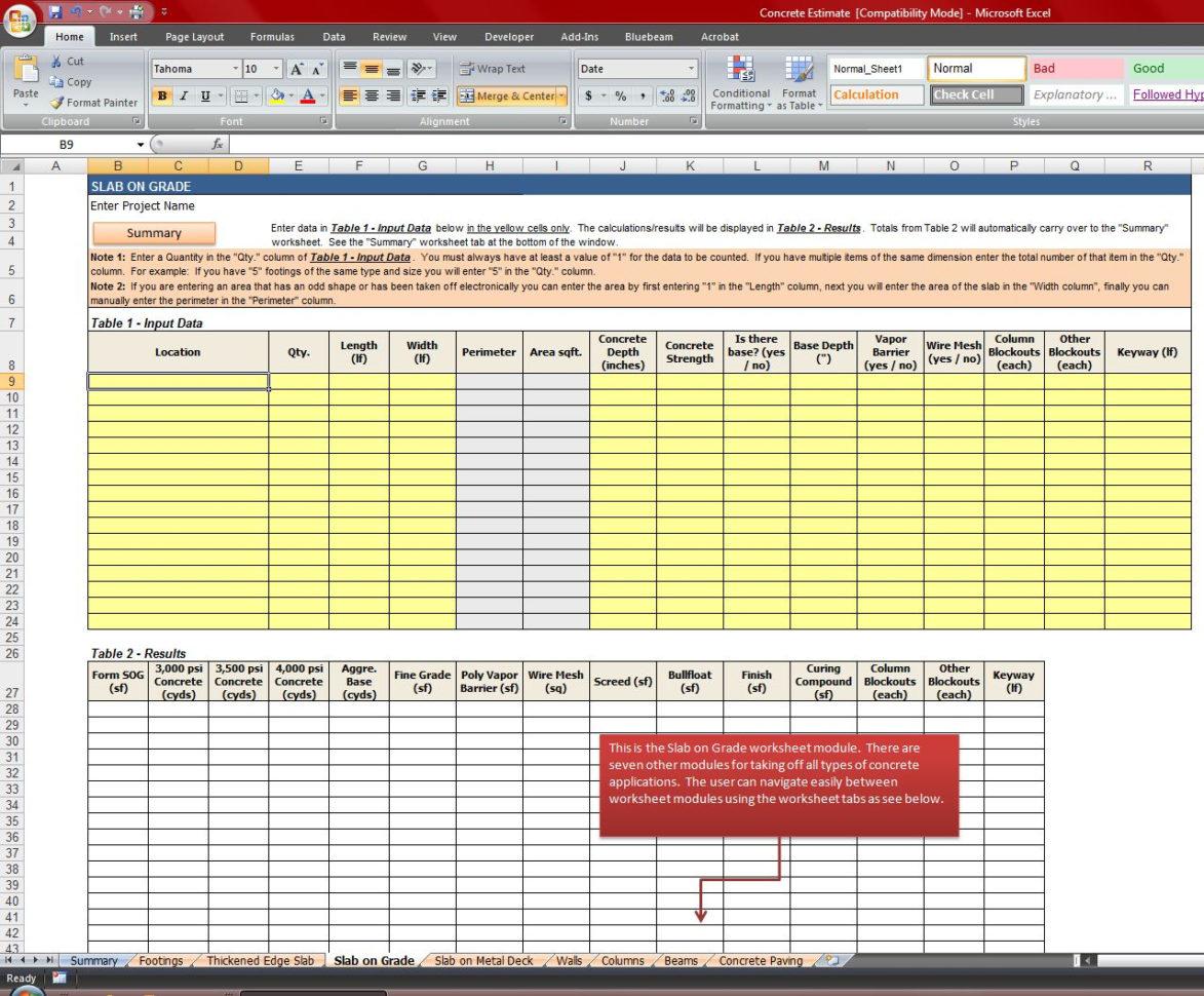 Material Takeoff Spreadsheet For Concrete Quantity Takeoff Excel Spreadsheet  Homebiz4U2Profit