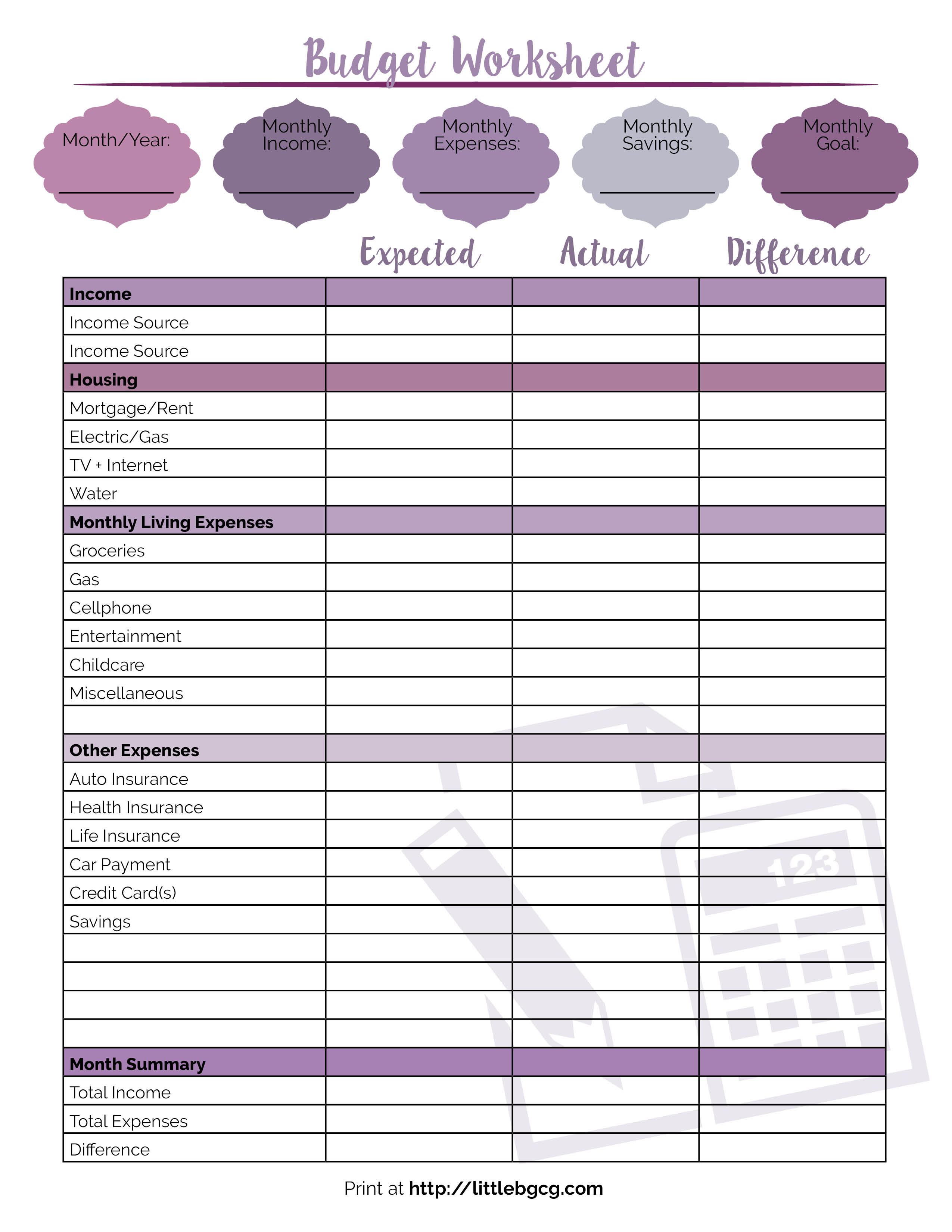 Maternity Leave Budget Spreadsheet In Printable Budget Worksheet  Little Us