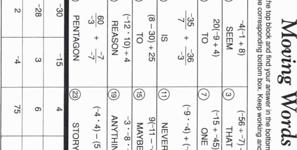 Math Spreadsheet Throughout Moving Words Math Worksheet Answers C 55 Spreadsheet Template Answer