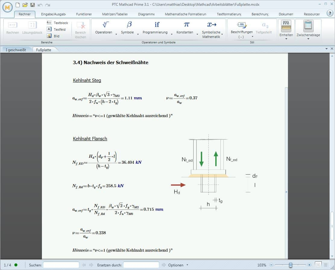 mathcad spreadsheet