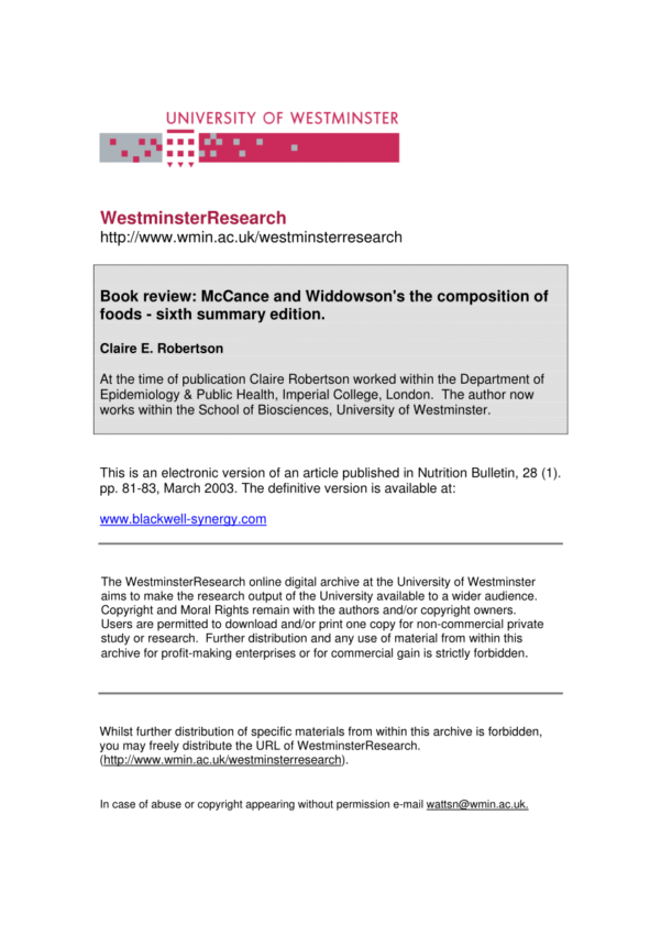 Mccance And Widdowson Spreadsheet With Pdf Book Review: Mccance And Widdowson's The Composition Of Foods