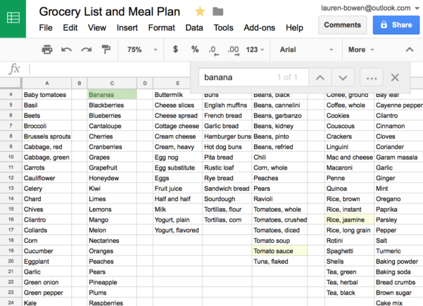 Meal Plan Spreadsheet Pertaining To How I Use Google Sheets For Grocery Shopping And Meal Planning
