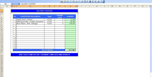 Meal Tracker Spreadsheet For Calorie Counter Excel  Kasare.annafora.co