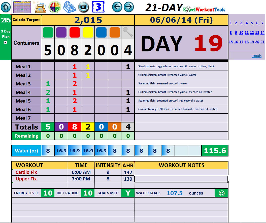 Meal Tracker Spreadsheet With Regard To 21 Day Fix « Excel Workout Tools