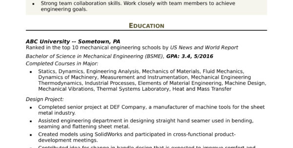 Mechanical Engineering Excel Spreadsheets In Sample Resume For An Entrylevel Mechanical Engineer  Monster