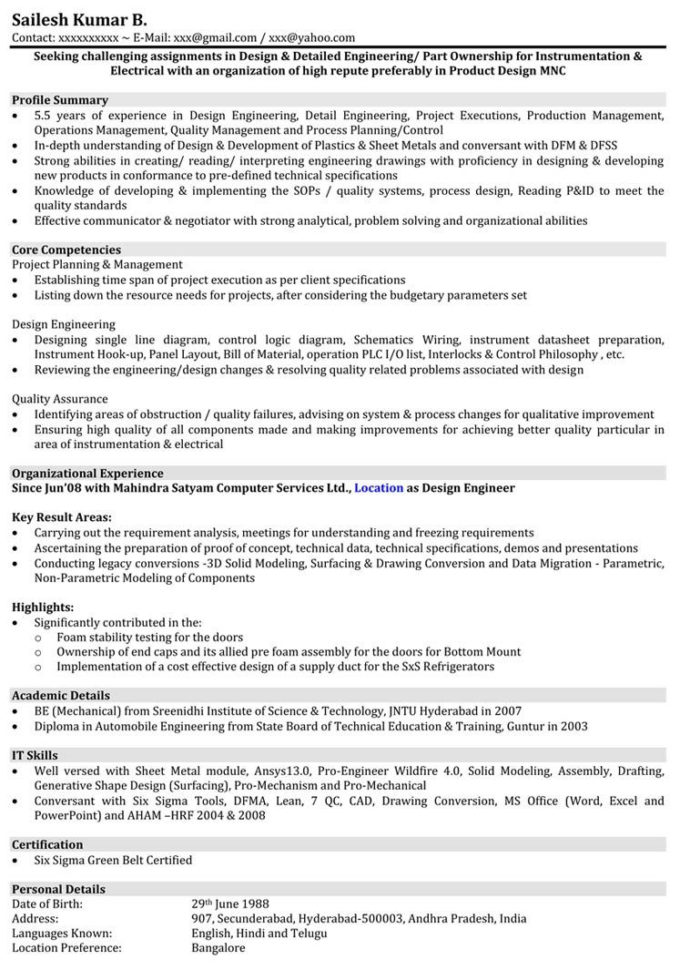Mechanical Engineering Spreadsheets Free Download Pertaining To Mechanical Engineer Resume Word Format Download  Free Resume Templates