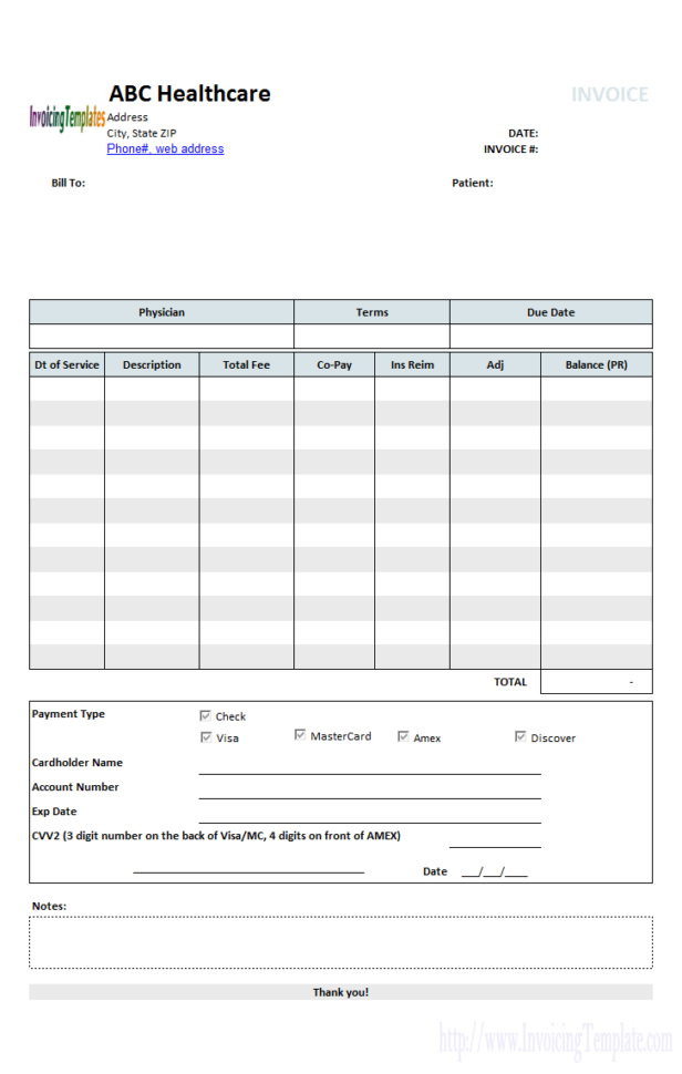 Medical Bill Organizer Spreadsheet Inside Medical Invoice Template 1