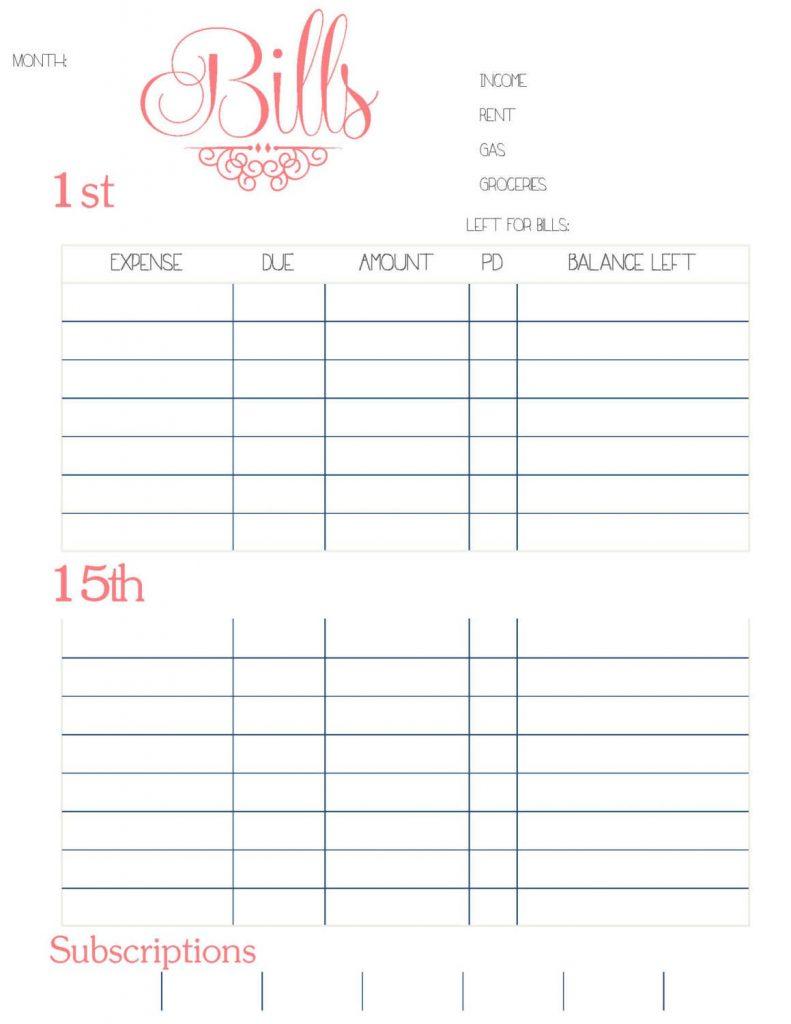 medical expense tracker spreadsheet intended for bill