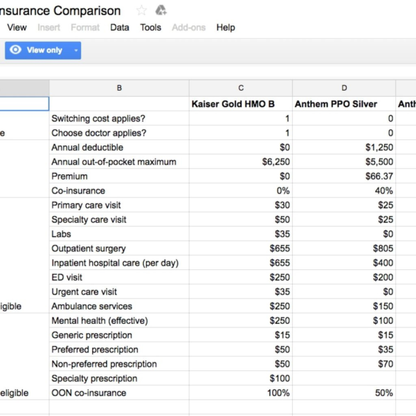 Medical Insurance Comparison Spreadsheet Pertaining To Spreadsheet For Picking A Healthcare Plan  Business Insider For