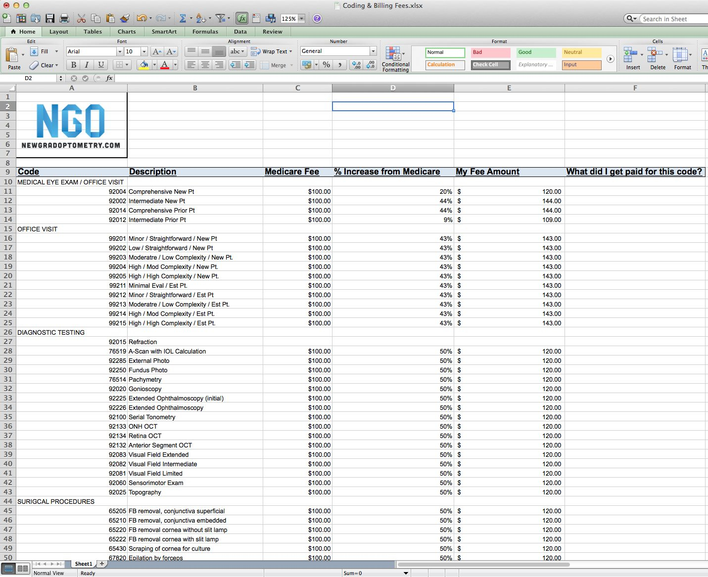 Medicare Spreadsheet Within Setting Fees At Your Optometry Practice – Free Spreadsheet Included