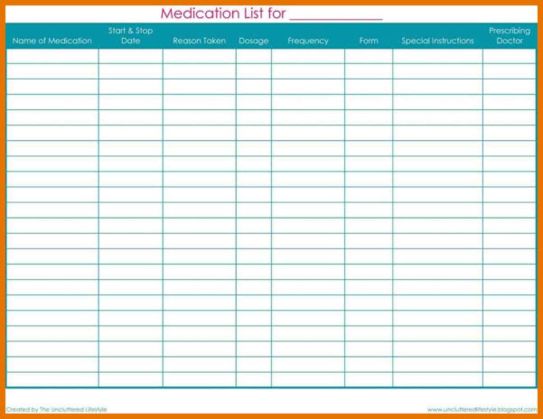 Medication Schedule Spreadsheet Intended For 1011 Medication Tracker Template  2L2Code
