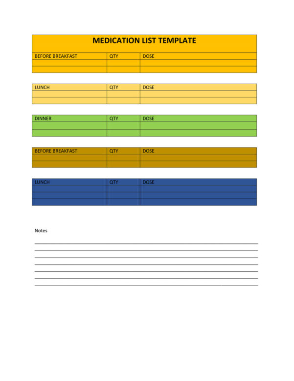 Medication Schedule Spreadsheet Regarding 40 Great Medication Schedule Templates  Medication Calendars