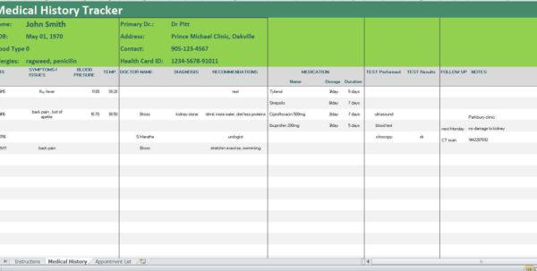 Medication Spreadsheet Organizer Inside Medical History Tracker Excel Template/symptoms Diary/medical  Etsy