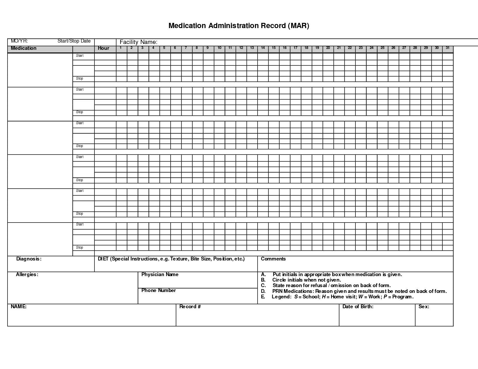 Medication Spreadsheet Organizer Throughout Medication Spreadsheet New Administration Record Printable