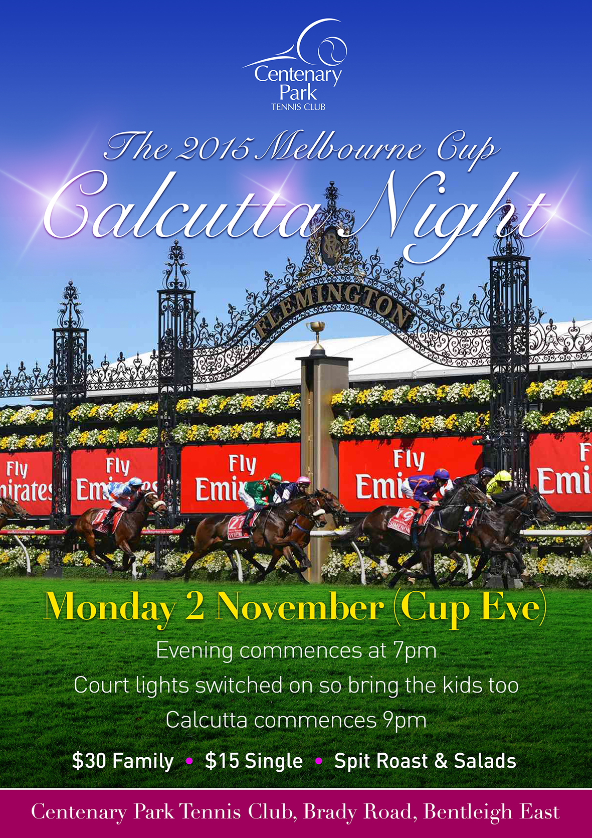 Melbourne Cup Calcutta Spreadsheet Within Centenary Park Tennis Club Melbourne Cup Calcutta Monday 2 November