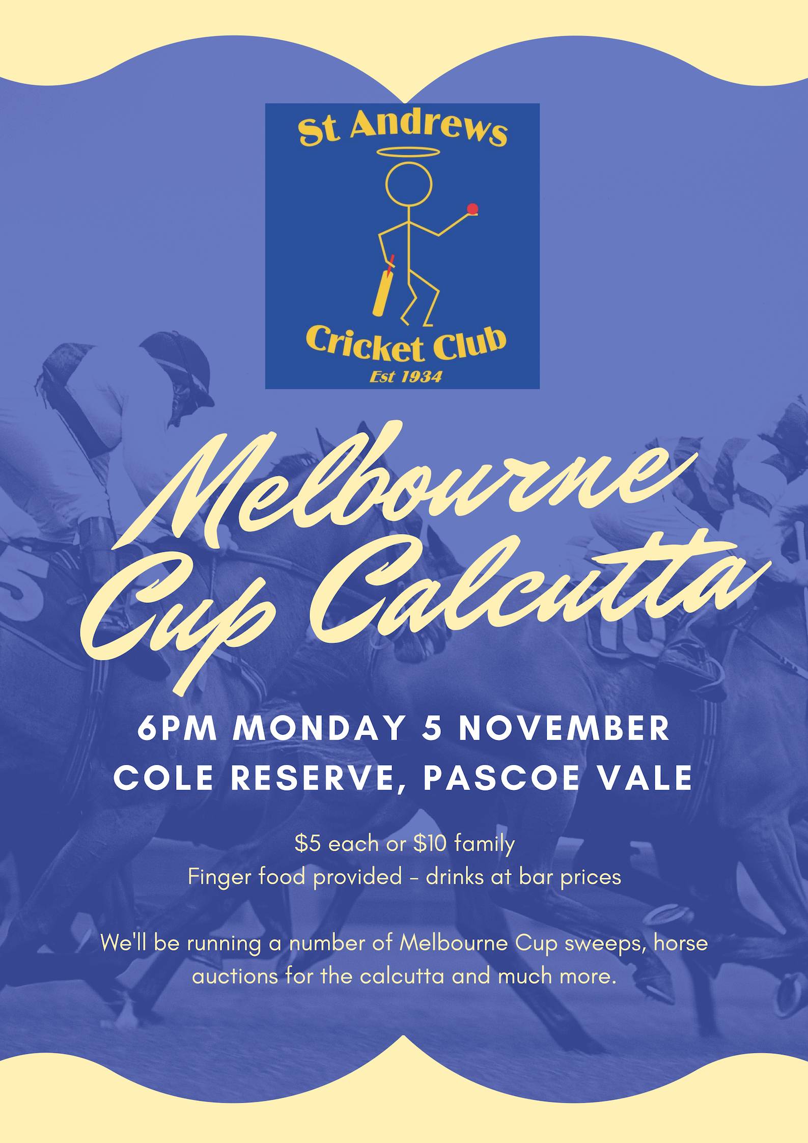 Melbourne Cup Calcutta Spreadsheet Within Melbourne Cup Calcutta  St Andrews Cricket Club Pascoe Vale