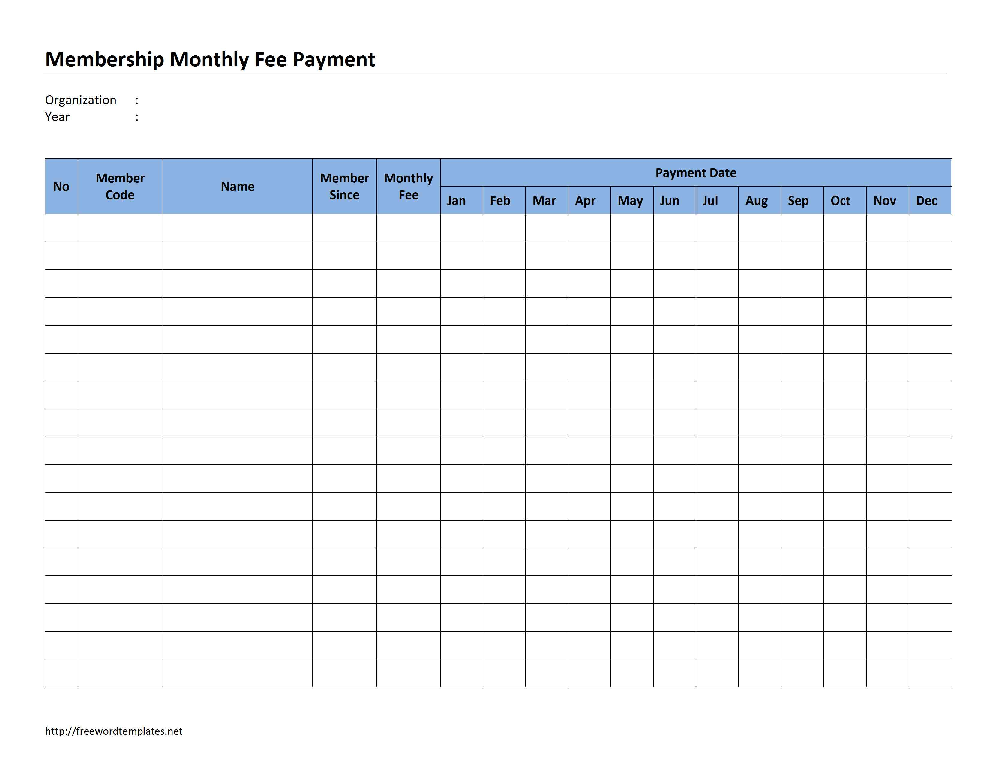 Membership Dues Spreadsheet With Membership Monthly Fee Payment