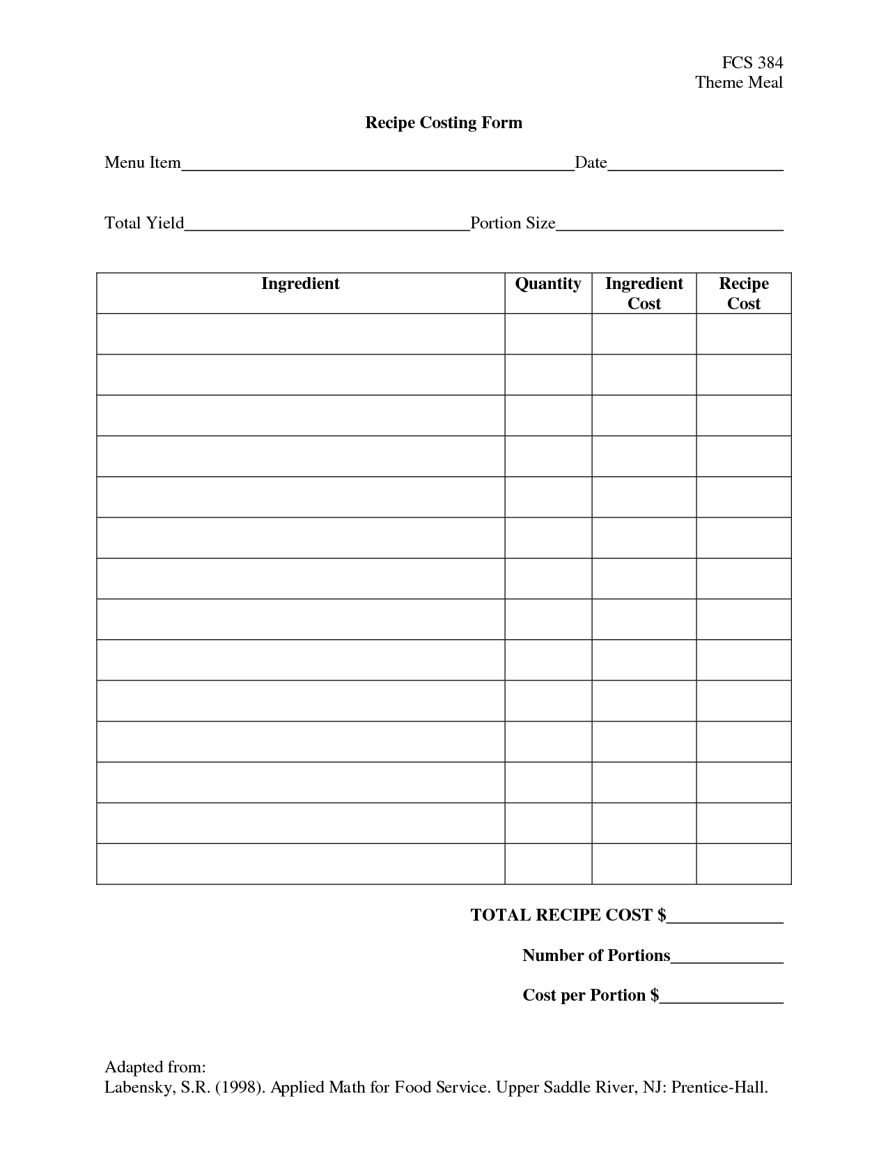 Menu And Recipe Cost Spreadsheet Template Within Recipe Costing Template