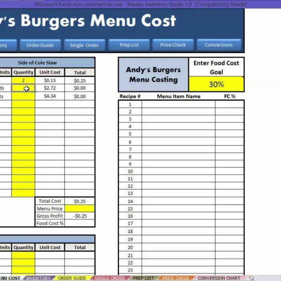 Menu Costing Spreadsheet With Restaurant Excel  How To: Menu Costing  Youtube Intended For Food