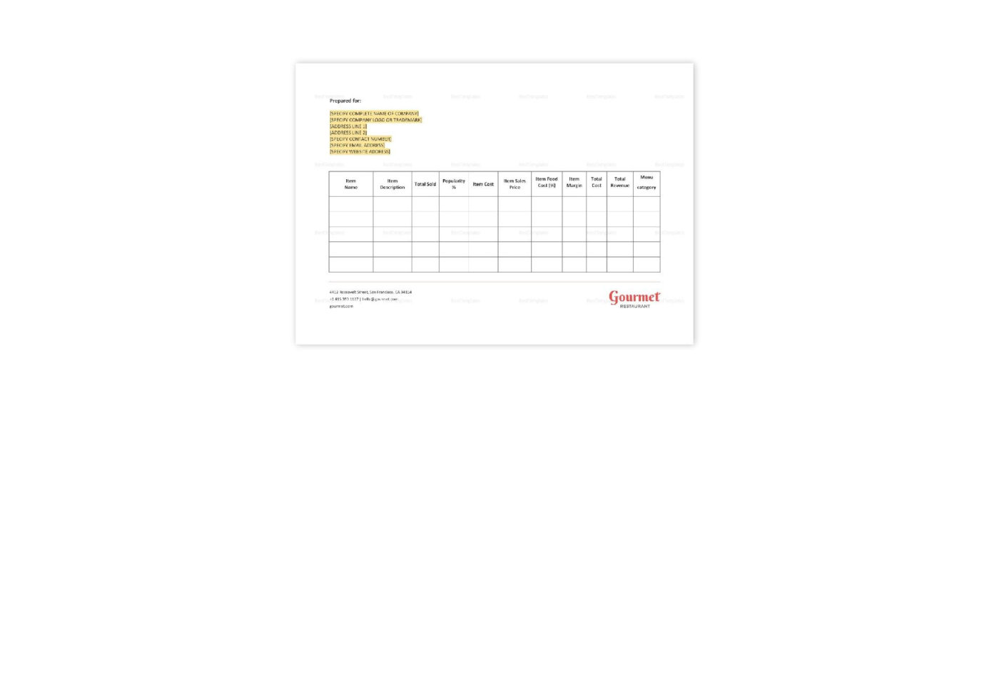 Menu & Recipe Cost Spreadsheet Template For Restaurant Menu  Recipe Cost Spreadsheet Template In Word, Apple Pages