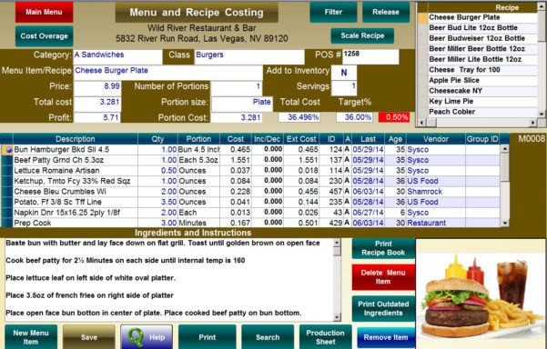 Menu & Recipe Cost Spreadsheet Template In Food Cost Calculator For Accurate Food Cost Percentage