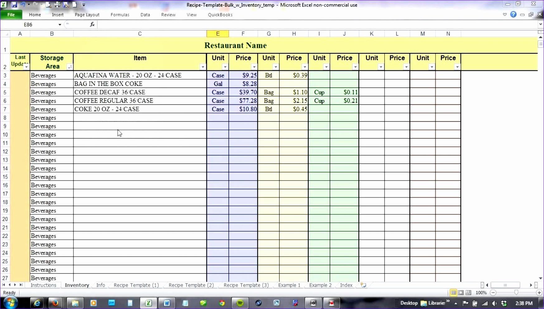 Menu & Recipe Cost Spreadsheet Template Pertaining To Menu Recipe Cost Spreadsheet Template Download Menu Recipe Cost