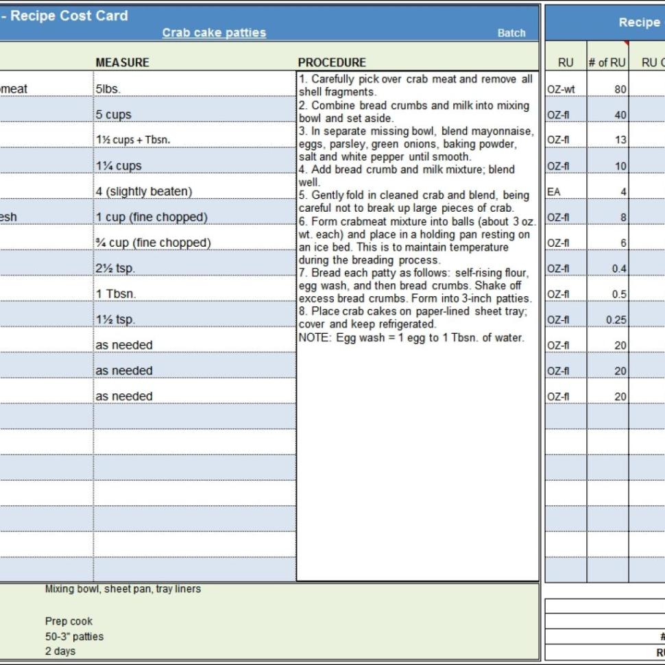 Menu & Recipe Cost Spreadsheet Template Regarding Menu  Recipe Cost Spreadsheet Template Regarding Food Cost