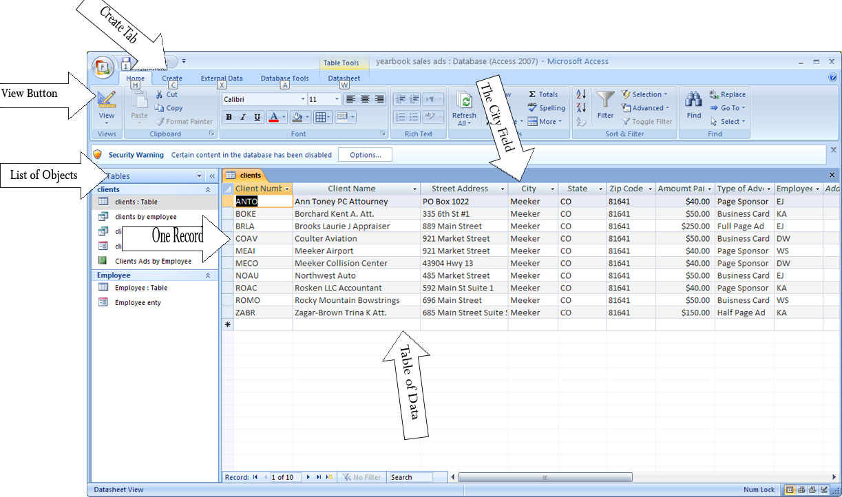 Microsoft Access Is Spreadsheet Software True Or False With Microsoft Office/create A Basic Two Table Database With Reports