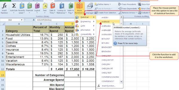 Microsoft Excel Spreadsheet Formulas List Inside Statistical Functions
