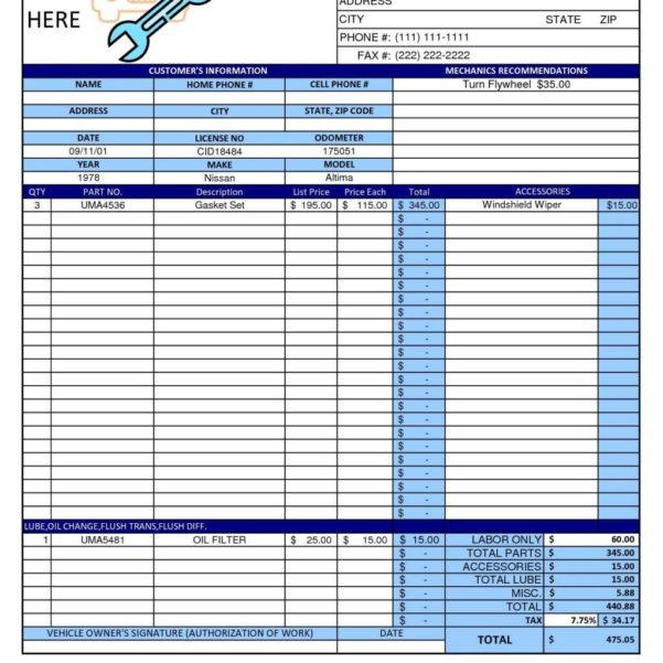Microsoft Office Spreadsheet With Regard To Auto Repair Invoice Template Microsoft Office With Bill Example Plus