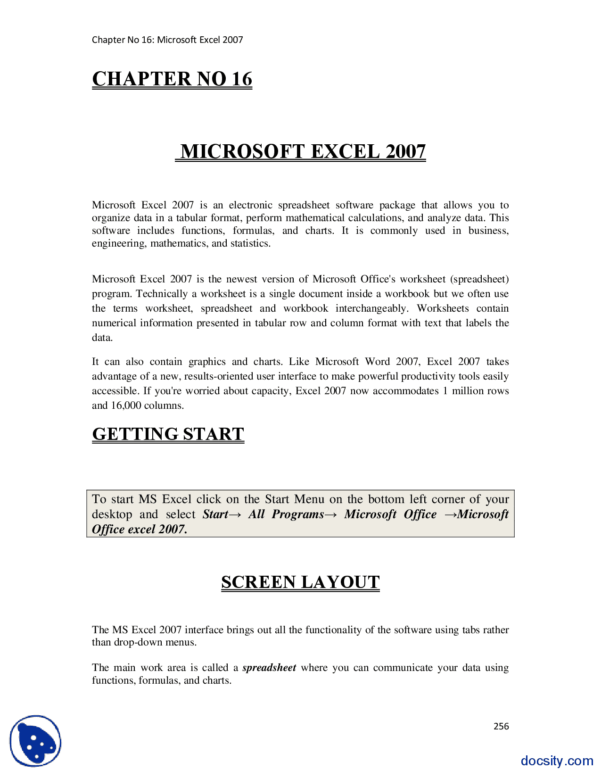 Microsoft Spreadsheet Program Pertaining To Microsoft Excel 2007Computer Fundamentalslecture Notes  Docsity